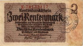R.167d: 2 Rentenmark 1937 mit belgischem Gemeindestempel (3)