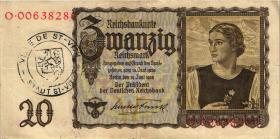 R.178b: 20 Reichsmark 1939 mit belgischem Gemeindestempel (3)