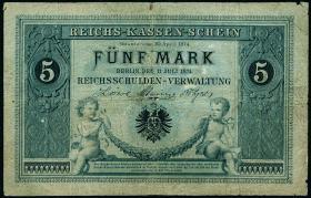 R.001: 5 Mark Reichskassenschein 1874 (4-)