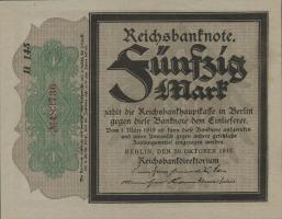 """R.056e: 50 Mark 1918 """"Trauerschein"""" (1)"""