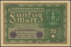 """R.062Aa: 50 Mark 1919 """"Reihe 1"""" braunes Papier AR-a (2+)"""