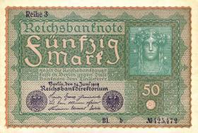 "R.062Ac 50 Mark 1919 ""Reihe 3 "" braunes Papier BL-B (1/1-)"