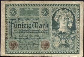 """R.066: 50 Mark 1920 """"Jugendstilbildnis"""" (3)"""