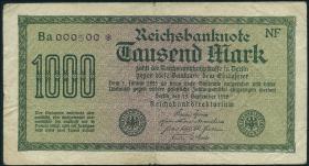 R.075k: 1000 Mark 1922 Nr.000500 (3-)