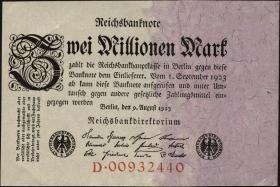 R.102a: 2 Mio. Mark 1923 Reichsdruck  (1-)