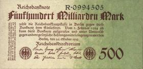 R.124a: 500 Milliarden Mark 1923 Reichsdruck (2/1)