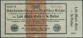 R.143d 1,05 Mark Gold = 1/4 Dollar 1923 (1/1-)