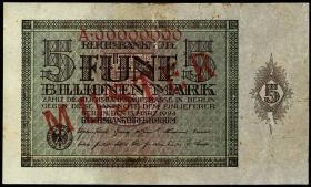 R.138M: 5 Billionen Mark 1924 A.00000000 Muster (2)