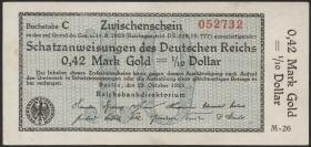 R.139a: 0,42 Mark Gold = 1/0 Dollar 1923 (1/1-)