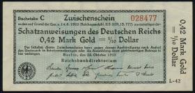 R.139a: 0,42 Mark Gold = 1/10 Dollar 1923 (1-)