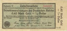 R.139a: 0,42 Mark Gold = 1/10 Dollar 1923 (3+)