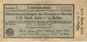 R.139b: 0,42 Mark Gold = 1/10 Dollar 1923 ohne Fz (4)