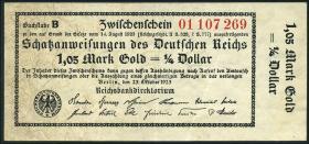 R.140d: 1,05 Mark Gold = 1/4 Dollar 1923 (2+)