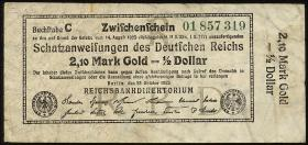 R.141c: 2,10 Mark Gold = 1/2 Dollar 1923 R (3)
