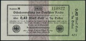 R.142a: 0,42 Mark Gold = 1/10 Dollar 1923 (1/1-)