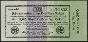 R.142b: 0,42 Mark Gold = 1/10 Dollar 1923 (2)