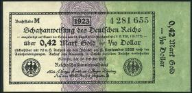 R.142b: 0,42 Mark Gold = 1/10 Dollar 1923 (1/1-)