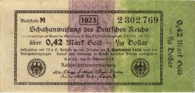 R.142b: 0,42 Mark Gold = 1/10 Dollar 1923 (3+)