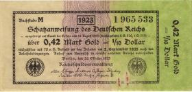 R.142b: 0,42 Mark Gold = 1/10 Dollar 1923 (3)