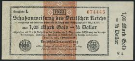 R.143a: 1,05 Mark Gold = 1/4 Dollar 1923 (2)