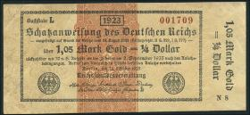 R.143c: 1,05 Mark Gold = 1/4 Dollar 1923 (3+)