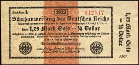 R.143d 1,05 Mark Gold = 1/4 Dollar 1923 (2)