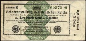 R.144a 2,10 Mark Gold = 1/2 Dollar 1923 (2/1)