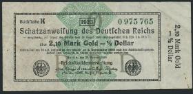 R.144b: 2,10 Mark Gold = 1/2 Dollar 1923 (3)