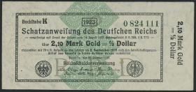 R.144d: 2,10 Mark Gold = 1/2 Dollar 1923 (2)