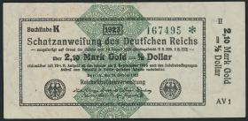 R.144e: 2,10 Mark Gold = 1/2 Dollar 1923 (2)