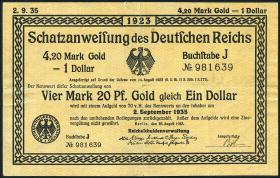 R.145a: 4,20 Mark Gold = 1 Dollar 1923 (2)