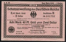 R.146a 8,40 Mark Gold = 2 Dollar 1923 (3+)