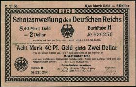 R.146a 8,40 Mark Gold = 2 Dollar 1923 (3)