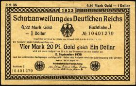 R.151b 4,20 Mark Gold = 1 Dollar 1923 (3)