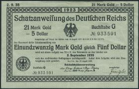 R.150a 21 Mark Gold = 5 Dollar 1923 (3/2)