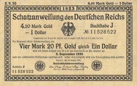 R.151b 4,20 Mark Gold = 1 Dollar 1923 (1)