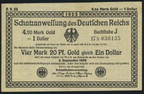 R.151c 4,20 Mark Gold = 1 Dollar 1923 (3+)