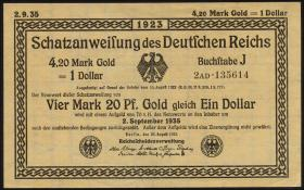R.151c 4,20 Mark Gold = 1 Dollar 1923 (1-)
