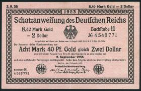 R.152: 8,40 Mark Gold = 2 Dollar 1923 (2+)
