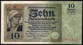 R.163 10 Rentenmark 1925 (3+)