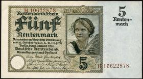 R.164F: 5 Rentenmark 1926 braune KN (2-)