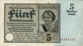 R.164F: 5 Rentenmark 1926 braune KN (2+)