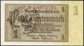 R.166d: 1 Rentenmark 1937 mit belgischem Gemeindestempel (1)