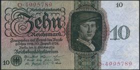 R.168a 10 Reichsmark 1924 U/O (2+)