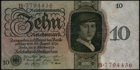 R.168a: 10 Reichsmark 1924 P/B (3-)
