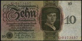 R.168a 10 Reichsmark 1924 C/U (3-)