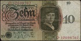 R.168a: 10 Reichsmark 1924 A/O (3-)