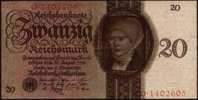 R.169: 20 Reichsmark 1924 Q/O (3+)