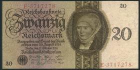 R.169: 20 Reichsmark 1924 D/E (2+)