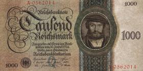 R.172a: 1000 Reichsmark 1924 Q/A (3+)